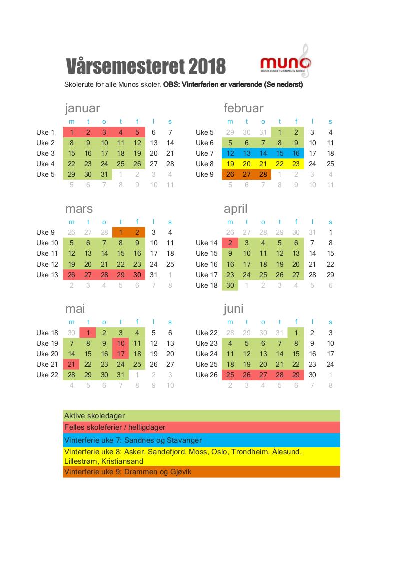 Skolerute våren 2018