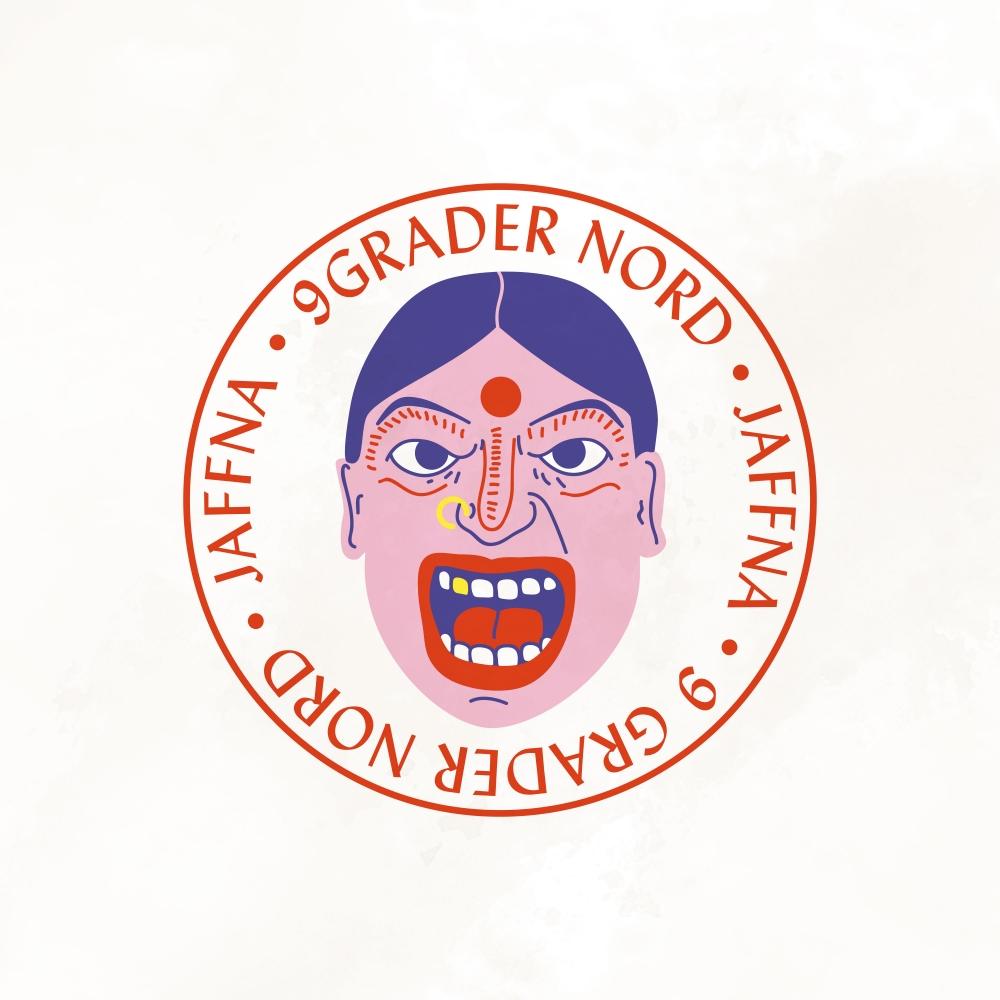album art for Jaffna av 9 grader nord. Et tegnet ansikt i en sirkel med albumtittel rundt